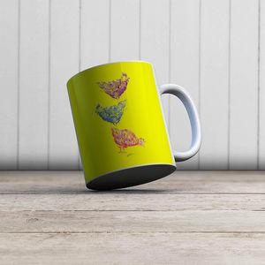 la Magie dans l'Image - mug poules jaune - Mug