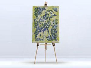 la Magie dans l'Image - toile oiseau batik vert - Impression Numérique Sur Toile
