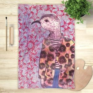 la Magie dans l'Image - foulard mon petit oiseau fond mauve - Foulard Carré