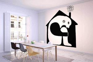 la Magie dans l'Image - grande fresque muraleogre maison noir & blanc - Papier Peint Panoramique
