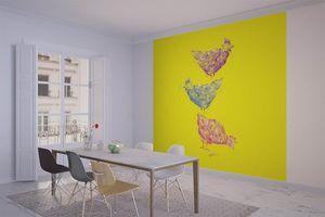la Magie dans l'Image - grande fresque murale poules jaunes - Papier Peint Panoramique
