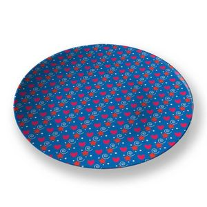 la Magie dans l'Image - assiette petits coeurs bleu - Assiette De Présentation