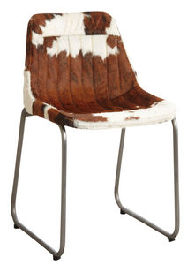 Aubry-Gaspard - chaise en peau de vache marron et blanche - Chaise