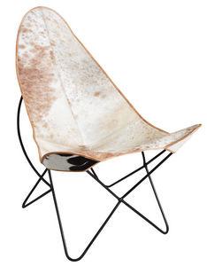 Aubry-Gaspard - fauteuil en métal et peau de vache - Fauteuil