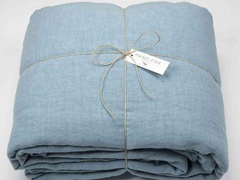 MAISON D'ETE - drap housse lin lavé bleu du nil - Drap Housse