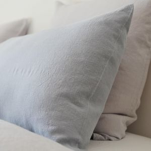 MAISON D'ETE - taie d'oreiller lin lavé gris galet - Taie D'oreiller