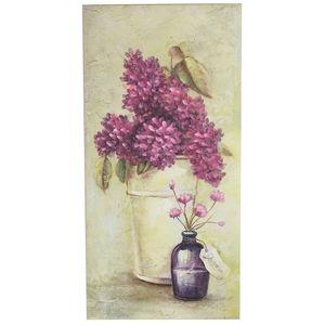CHEMIN DE CAMPAGNE - tableau cadre en bois peint fleur mural hortensia  - Tableau Décoratif