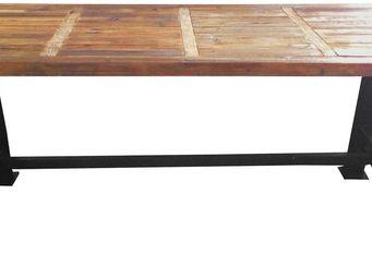 Antic Line Creations - grande table industrielle bois et métal 200 cm - Table De Repas Rectangulaire