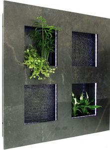 ETIK&O - tableau 'minéral' eau & végétal - Fontaine Murale D'extérieur