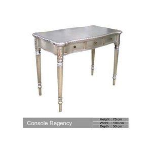 DECO PRIVE - console en bois argente baroque regency deco prive - Table Console