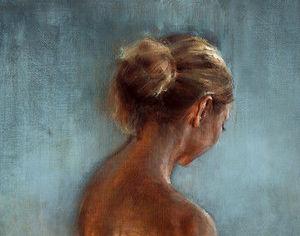 De Montfort Fine Art - study on blue background - Huile Sur Toile Et Huile Sur Panneau
