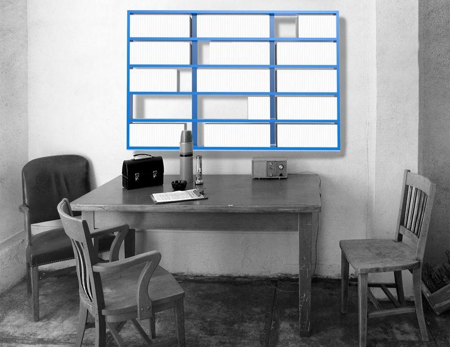 etag re murale wall disc biblioth que modulable. Black Bedroom Furniture Sets. Home Design Ideas