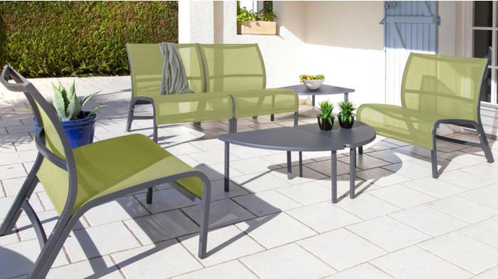 Salon linéa lounge 4 fauteuils 3 tables royal grey - Salon de ...