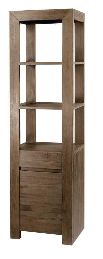 Colonne 1 tiroir 1 porte en teck gris 50x40x180cm - Rangement porte salle de bain ...