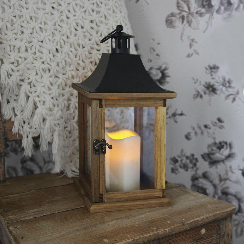 LANTERN - Lanterne Extérieur Bois Bougie LED H35cm - Lampe de ...