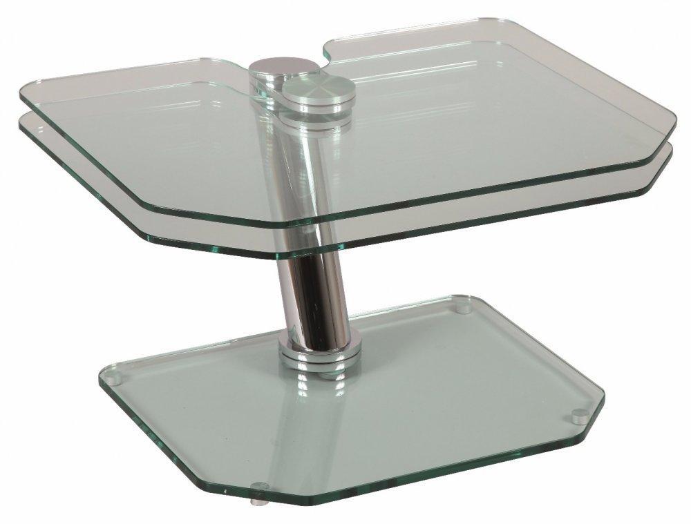 table basse fly double plateaux table basse forme originale transparent verre hxlxp