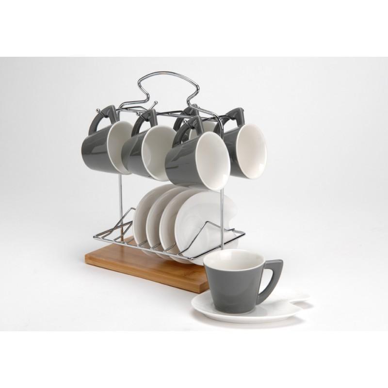LOT de 6 tasses avec sous-tasses et 1 rack de rang - Service à ...