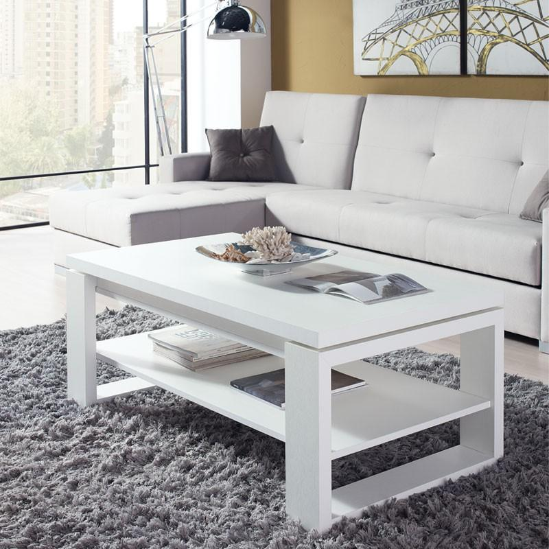 Table basse blanche relevable reena l 110 x l table - Table basse blanche relevable ...
