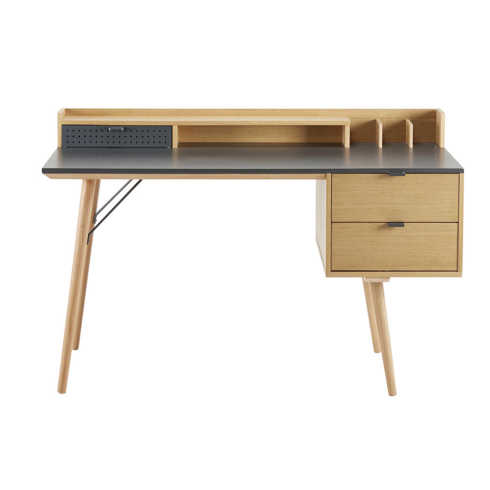 bureau 3 tiroirs bron bureau maisons du monde decofinder. Black Bedroom Furniture Sets. Home Design Ideas