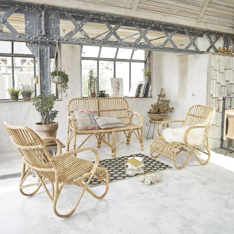 ensemble en rotin relax salon de jardin naturel. Black Bedroom Furniture Sets. Home Design Ideas