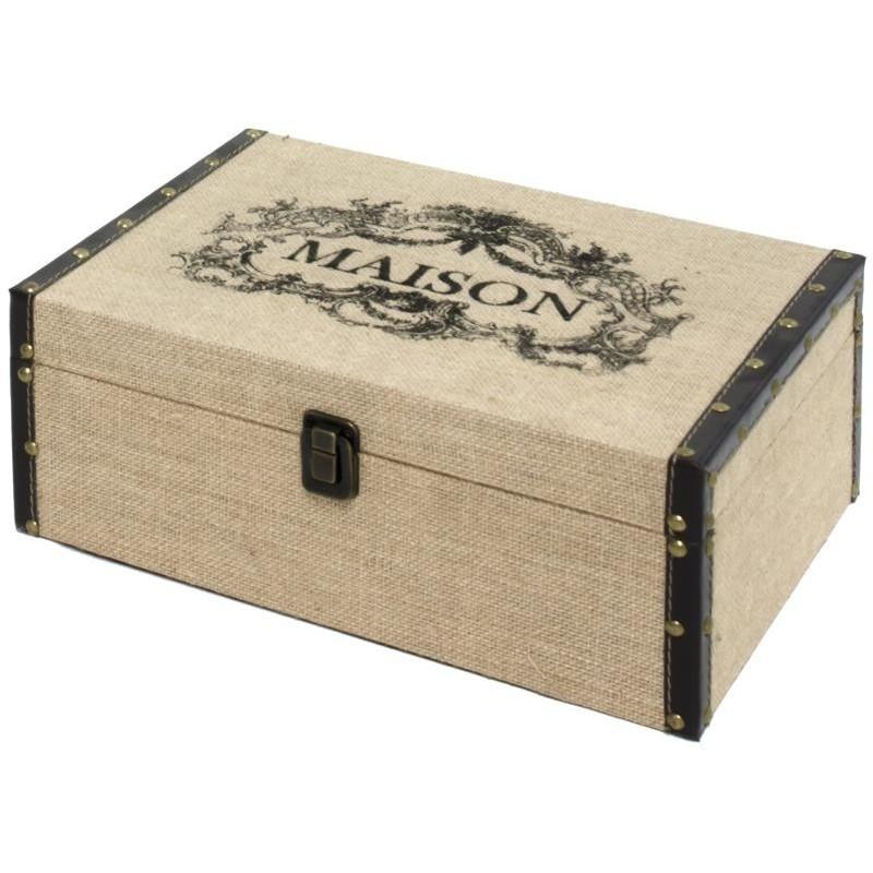 coffre bo te de rangement bois toile de jute 34x24 malle blanc. Black Bedroom Furniture Sets. Home Design Ideas