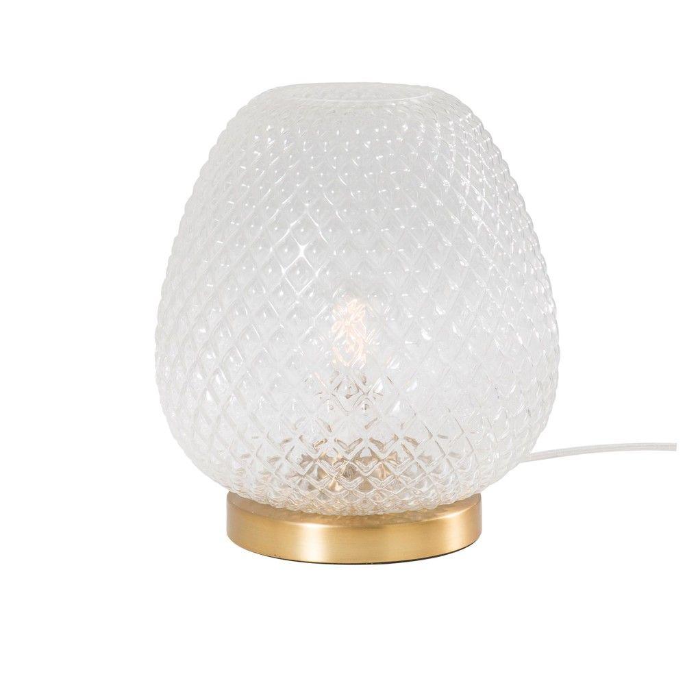 lampe en verre stri et m tal dor lampe poser. Black Bedroom Furniture Sets. Home Design Ideas