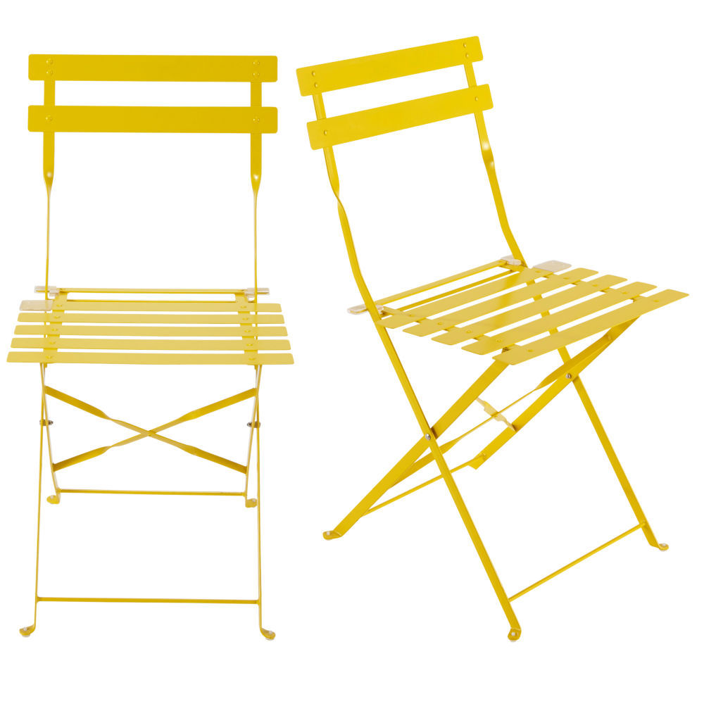 2 chaises pliantes de jardin en m tal jaune confettichaise. Black Bedroom Furniture Sets. Home Design Ideas