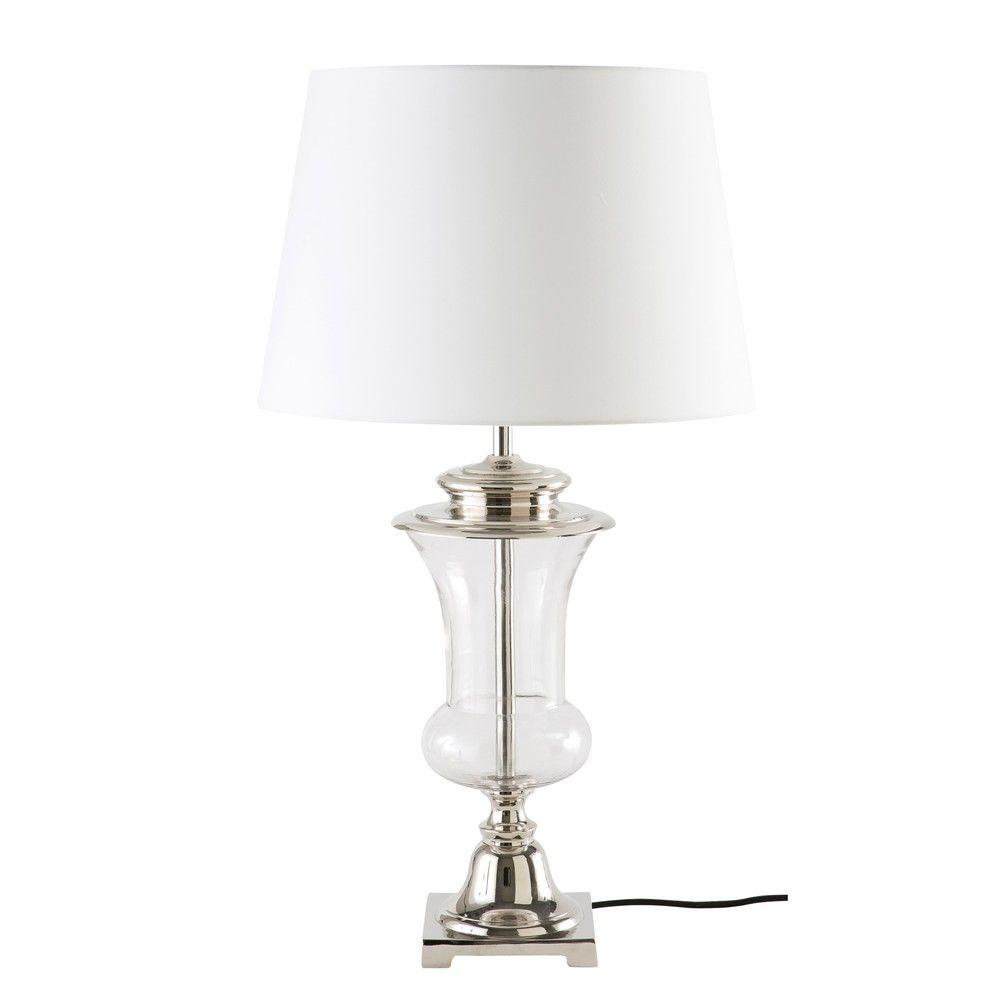 lampe en verre et abatjour blanclampe à poser  46x82x46cm