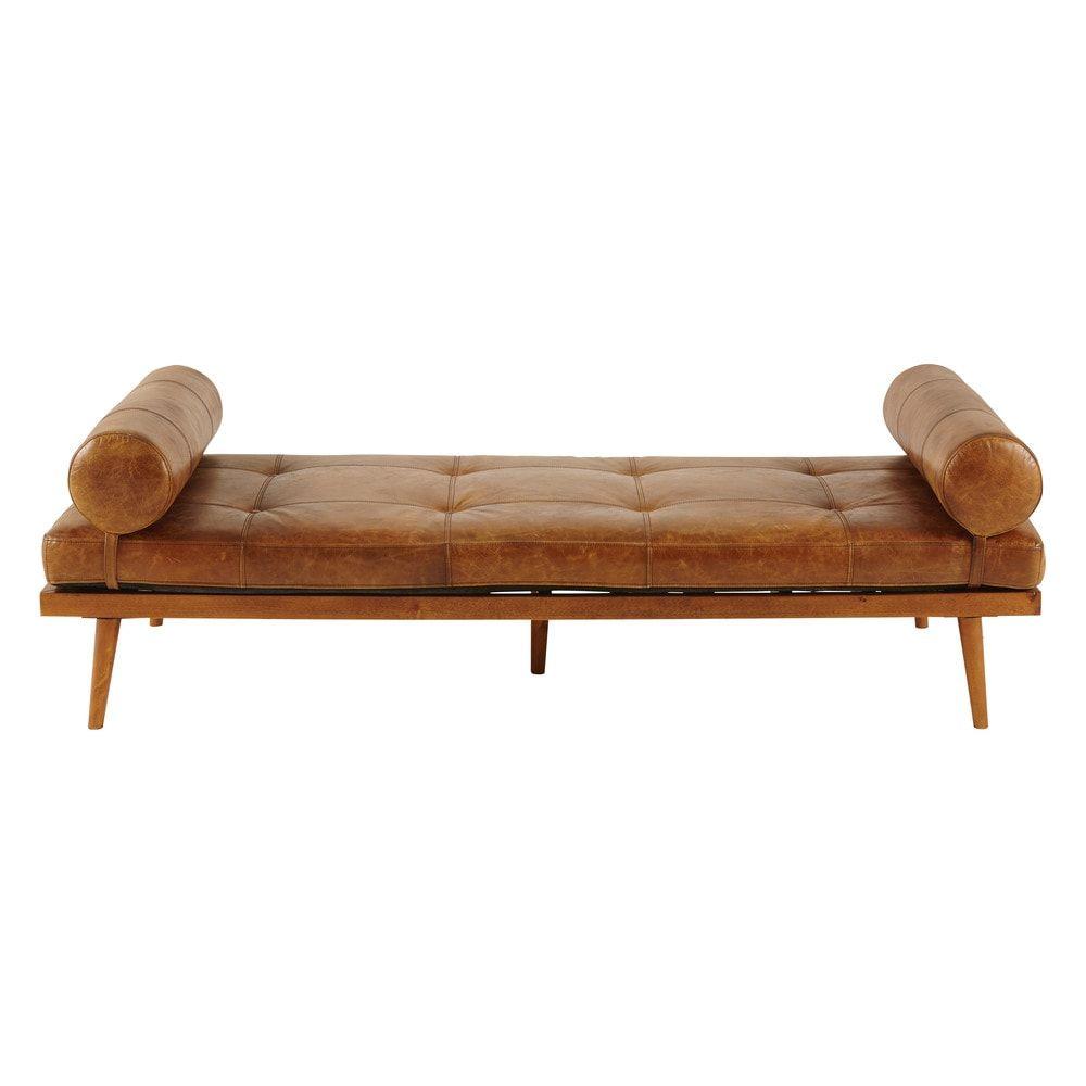 Daybed vintage en cuir marron FelixBanquette - 180x56x70cm ...