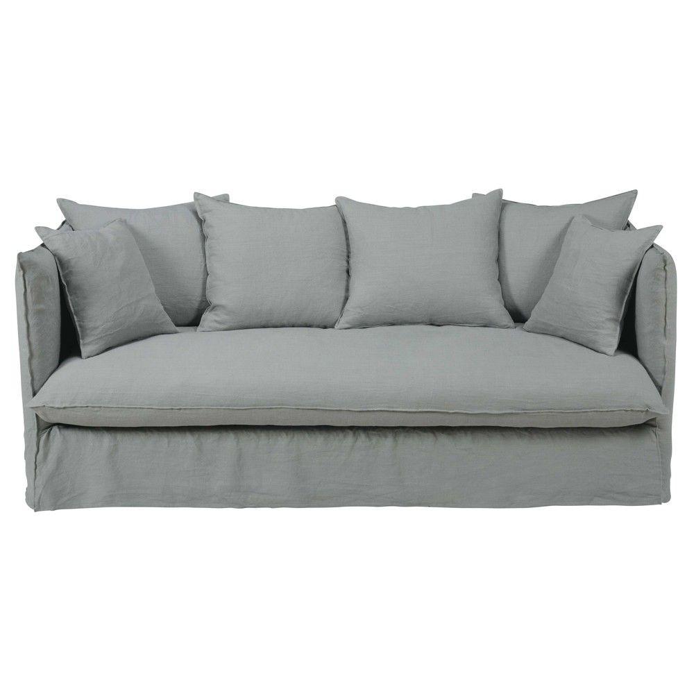 canap lit 3 4 places en lin lav gris clair louvrecanap. Black Bedroom Furniture Sets. Home Design Ideas