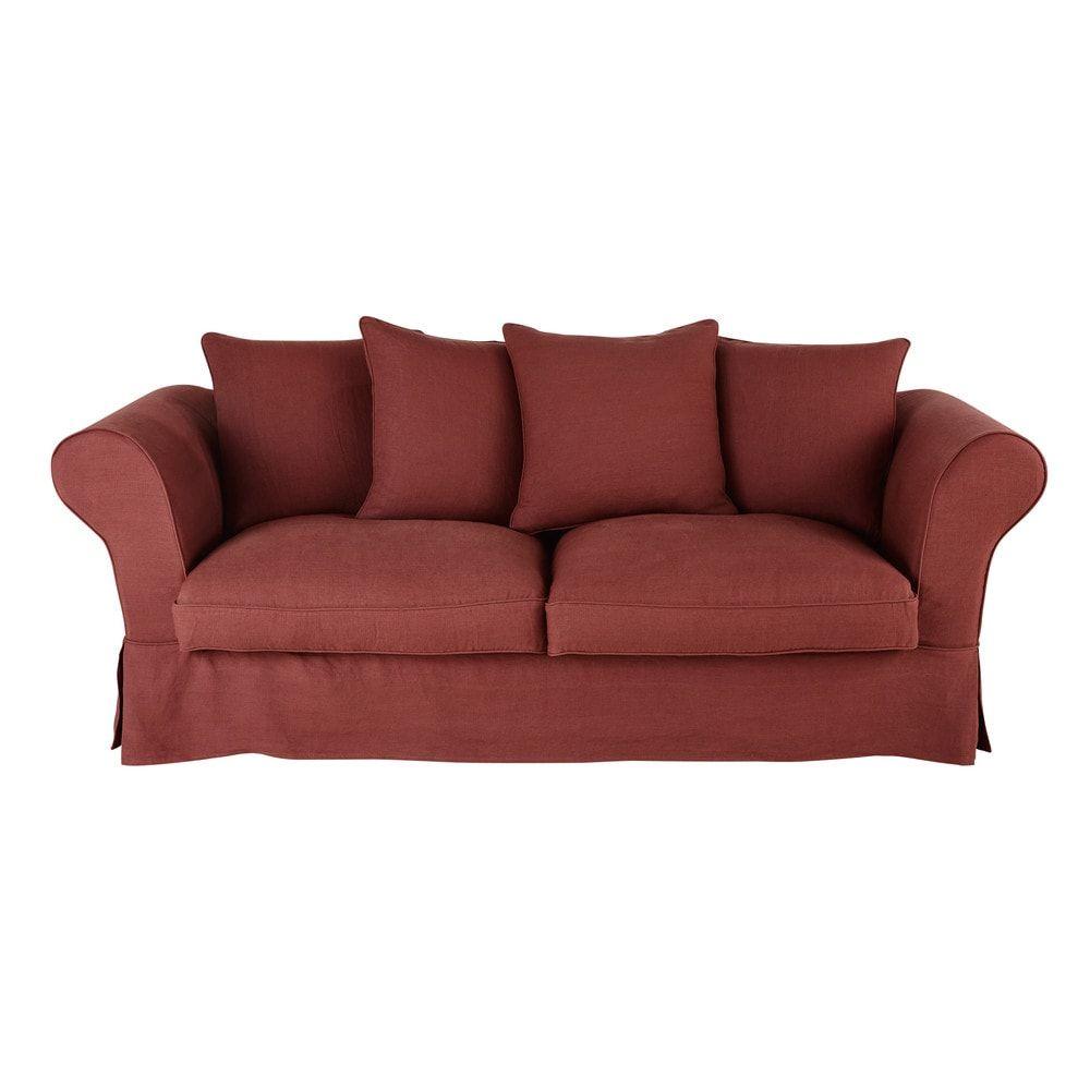 canap lit 3 4 places en lin terracotta romacanap lit. Black Bedroom Furniture Sets. Home Design Ideas