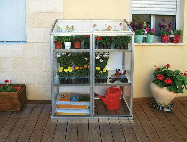 Chalet & Jardin - Mini-serre-Chalet & Jardin-Serre de terrasse 0,6m² avec étagères en polycarbo