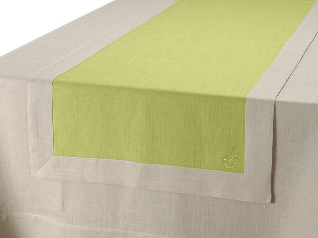 BLANC CERISE - Chemin de table-BLANC CERISE-Vis-à-vis - lin déperlant - bicolore, brodé