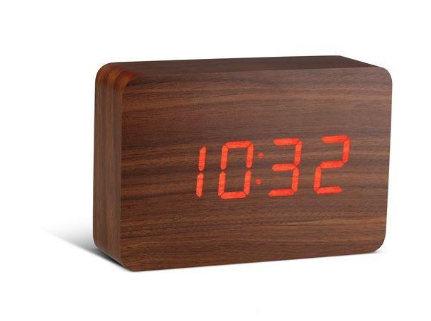 Gingko - Réveil matin-Gingko-Brick Walnut Click Clock / Red LED