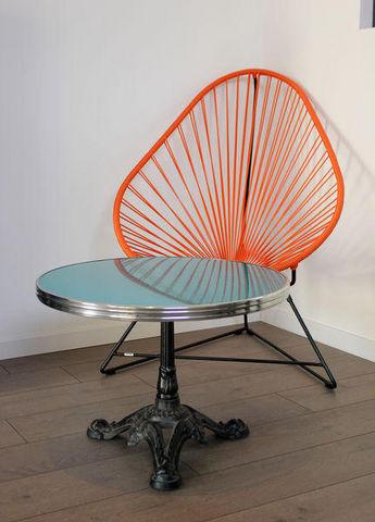 Ardamez - Table basse ronde-Ardamez-Table basse bistrot émaillée bleu / inox / fonte