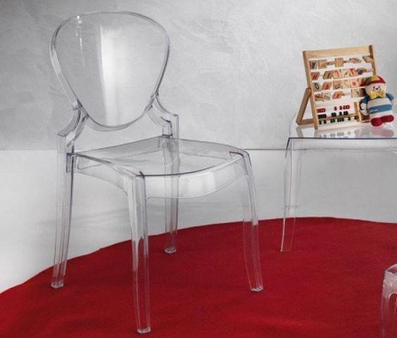 WHITE LABEL - Chaise-WHITE LABEL-Lot de 2 chaises design LIGHT en plexiglas transpa