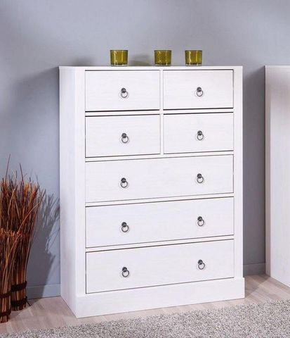 WHITE LABEL - Commode-WHITE LABEL-Commode PROVENCE blanche 7 tiroirs en pin massif
