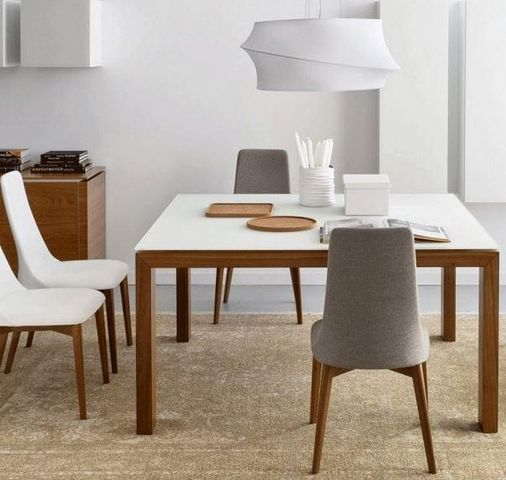 Calligaris - Table de repas carrée-Calligaris-Table repas extensible SIGMA GLASS 140x140 de CALL