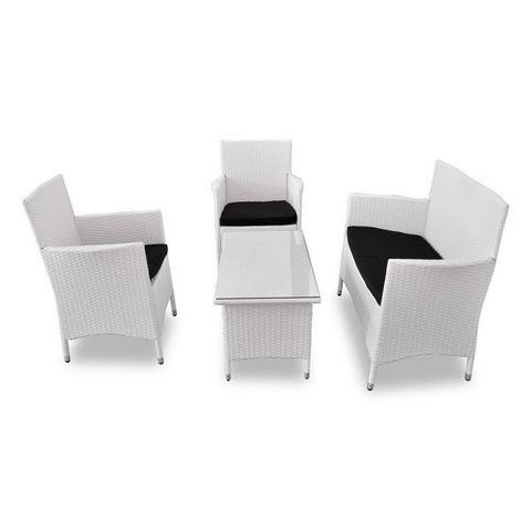 WHITE LABEL - Salon de jardin-WHITE LABEL-Salon de jardin blanc complet