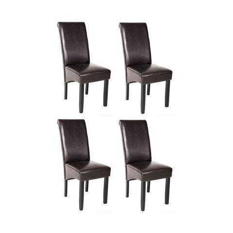 WHITE LABEL - Chaise-WHITE LABEL-4 chaises de salle à manger marron