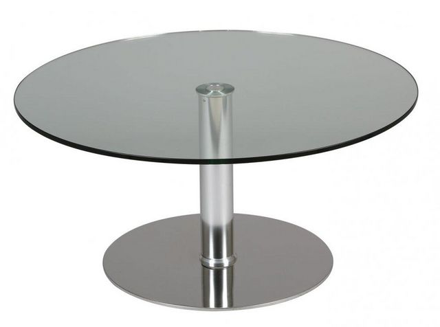 WHITE LABEL - Table de repas ronde-WHITE LABEL-Table relevable ronde SCION en verre transparent p