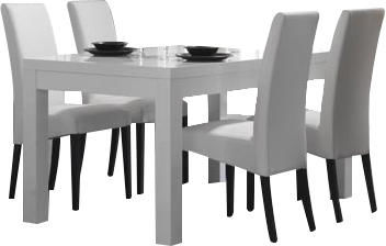 COMFORIUM - Salle à manger-COMFORIUM-Ensemble table blanche 190 cm + 4 chaises blanches
