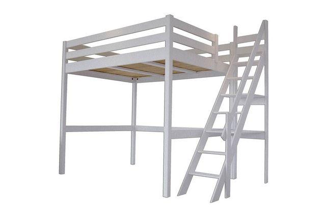 ABC MEUBLES - Autres Divers Mobilier Lit-ABC MEUBLES-Abc meubles - lit mezzanine sylvia avec escalier de meunier bois gris aluminium 140x200