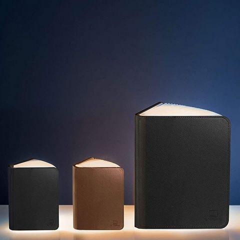 Gingko - Lampe à poser-Gingko-SMART BOOKLIGHT - lampe cuir noir 21 cm