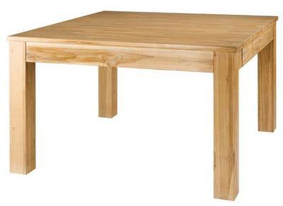 MEUBLES ZAGO - Table de repas carrée-MEUBLES ZAGO-Table repas carrée teck blanchi 120 cm + allonge C