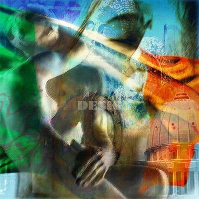 Magel'design - Tableau contemporain-Magel'design-Hope Peace and Love 100x100 cm , 3D effet relief