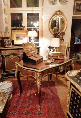 Art & Antiques - Bureau plat-Art & Antiques-Grand bureau plat en marqueterie BOULLE