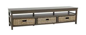 BARCLER - Meuble tv hi fi-BARCLER-Meuble tv en manguier teinté et poelet gris 180x45