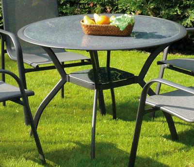 TRAUM GARTEN - Table de jardin ronde-TRAUM GARTEN-Table de jardin marina en aluminium et verre 106x7