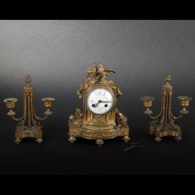 Expertissim - Garniture de cheminée-Expertissim-Garniture de cheminée. Style Louis XVI